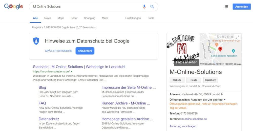 Darstellung des Suchergebnisses von M-Online-Solutions auf Google
